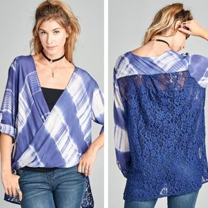 """""""The Shae"""" Tie Dye Lace Back Top"""
